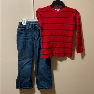 Old Navy Boys 5T outfit jeans & red & navy shirt
